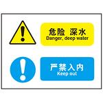 危险 深水 严禁入内 警示牌 不干胶安全标签 组合信息标识