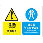 危险 有毒物质 请穿戴个人保护设备 警告牌 组合信息标识