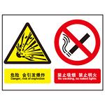 危险 会引发爆炸 禁止吸烟 禁止明火 警示标牌 组合信息标识