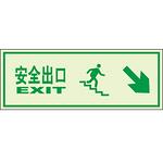 告示牌 指示牌 安全出口 右下 高亮度自发光墙贴 夜光标识牌