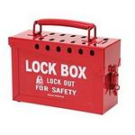 贝迪安全锁具 便携式金属锁箱 红色 15.2×22.9×8.9cm 65699