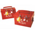 贝迪安全锁具 便携式金属锁箱 红色 15.2×18.7×24.1cm 51171